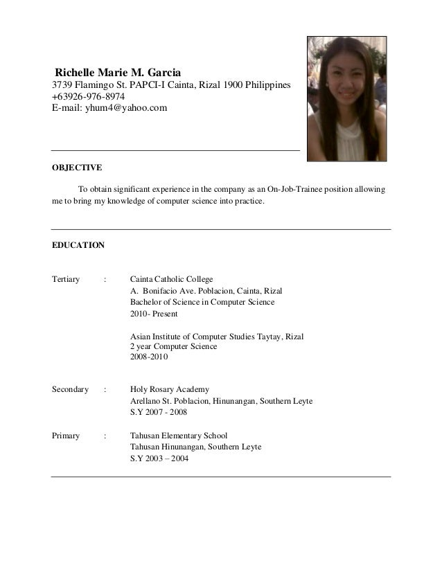 resume resume example for ojt hrm sample resume of hrm students ...