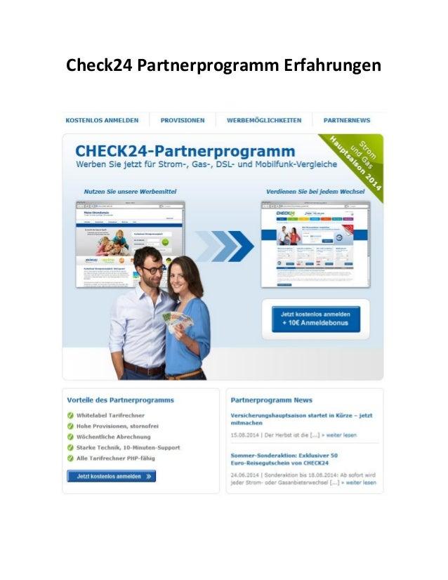 Check24 Partnerprogramm Erfahrungen