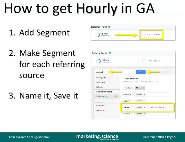December 2020 / Page 5marketing.scienceconsulting group, inc. linkedin.com/in/augustinefou How to get Hourly in GA 1. Add ...
