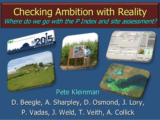 Checking Ambition with Reality Where do we go with the P Index and site assessment? Pete Kleinman D. Beegle, A. Sharpley, ...