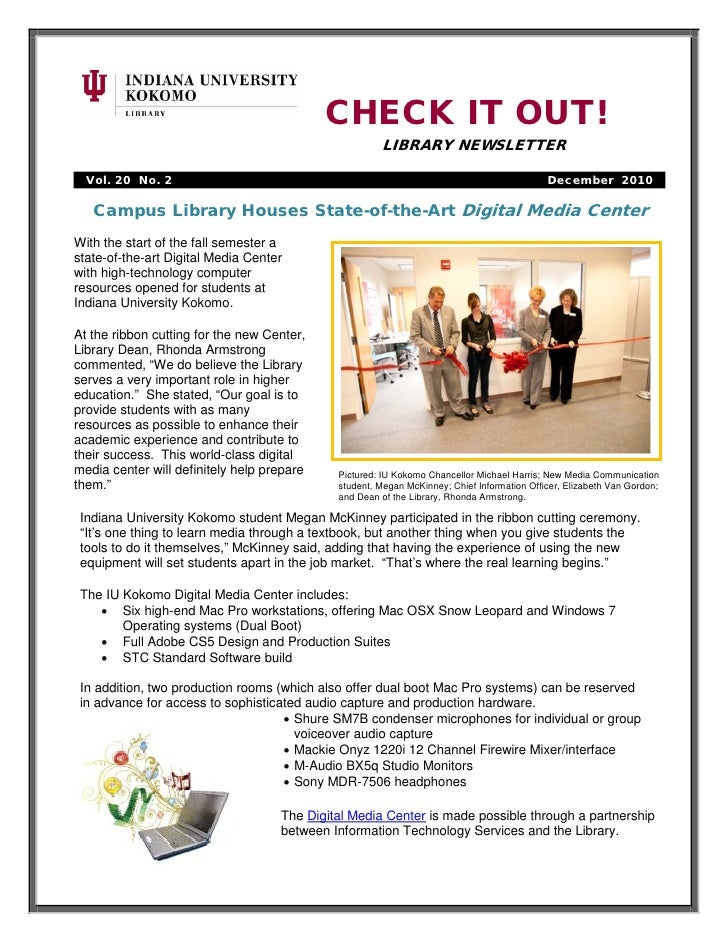 CHECK IT OUT!                                                      LIBRARY NEWSLETTER  Vol. 20 No. 2                      ...