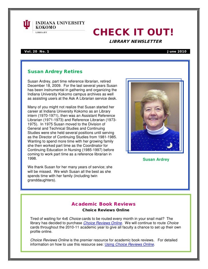 CHECK IT OUT!                                                    LIBRARY NEWSLETTER  Vol. 20 No. 1                        ...
