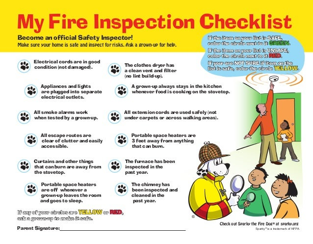 Sparky fire safety checklist for Fire safety house