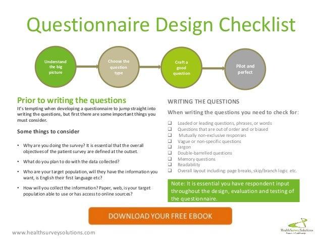 your questionnaire design checklist