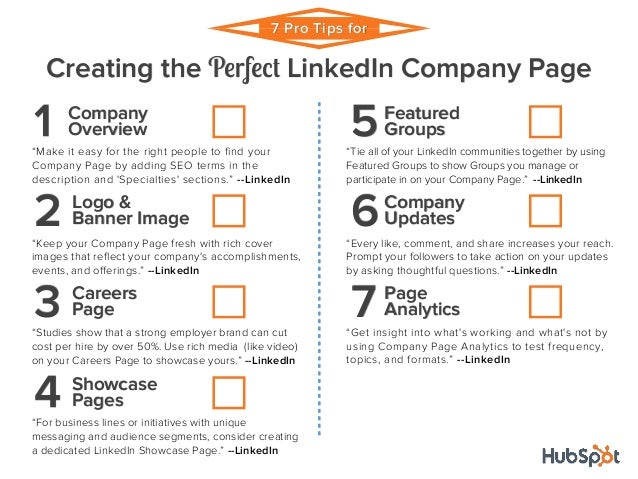 Checklist 7 Pro Tips For Creating The Perfect Linked In Company Page