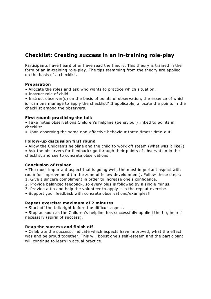 Checklist Creating Success In A Role Play