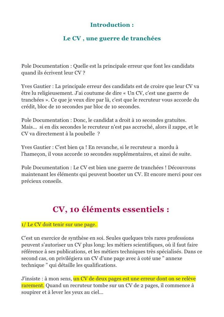 checklist cv