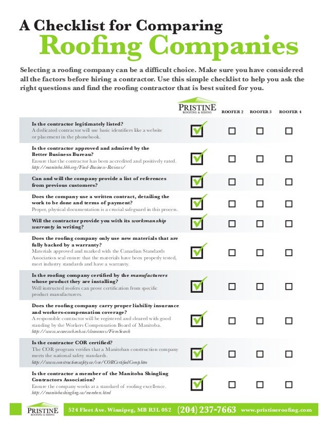 Checklist For Comparing Roofing Companies. 524 Fleet Ave. Winnipeg, MB R3L  0S2 (204)237 7663 Www