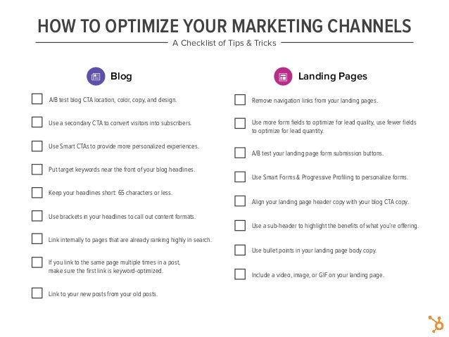HOW TO OPTIMIZE YOUR MARKETING CHANNELS A Checklist of Tips & Tricks Blog Landing Pages A/B test blog CTA location, color,...