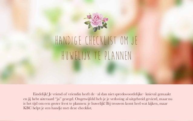 Handige checklist om je huwelijk te plannen Eindelijk! Je vriend of vriendin heeft de –al dan niet spreekwoordelijke– knie...