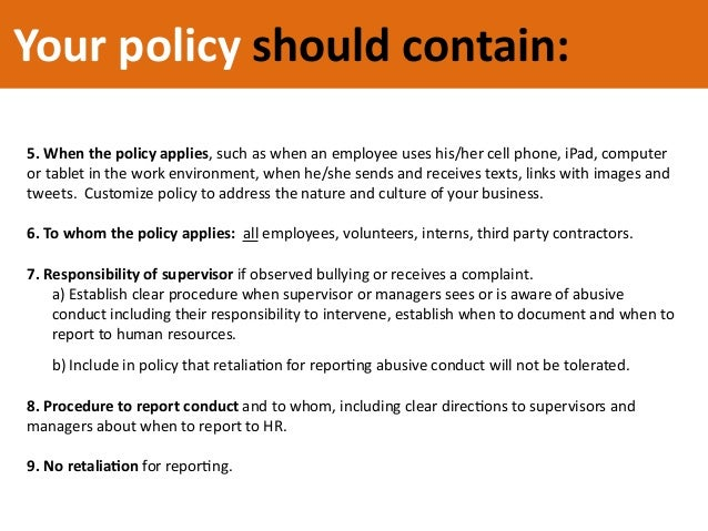 mobile phone policy template - five steps to prevent abusive conduct and workplace bullying