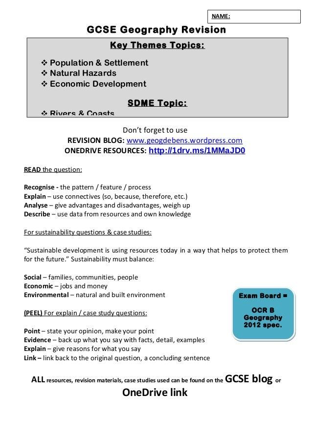 Checklist 2016 - OCR B GCSE specification