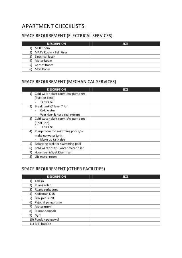 Checklist Apartment