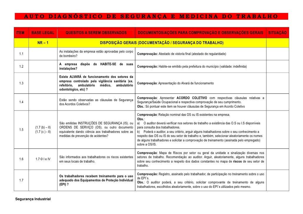 AUTO DIAGNÓSTICO DE SEGURANÇA E MEDICINA DO TRABALHOITEM     BASE LEGAL              QUESITOS A SEREM OBSERVADOS          ...