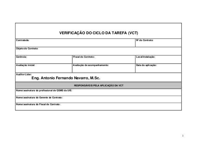 VERIFICAÇÃO DO CICLO DA TAREFA (VCT) Contratada:  Nº do Contrato:  Objeto do Contrato:  Gerência:  Fiscal do Contrato:  Lo...
