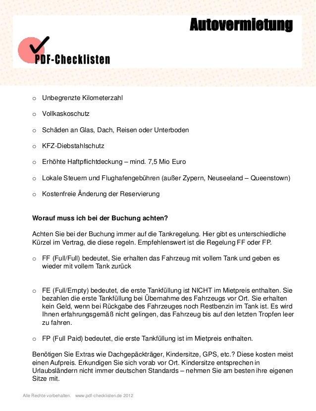 Checkliste Autovermietung Slide 2