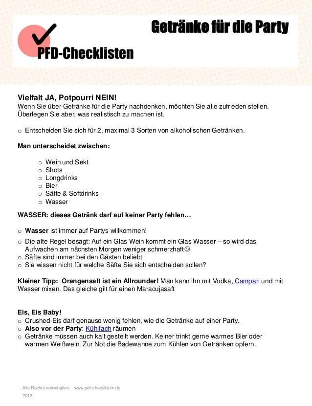 Checkliste Getränke für die Party