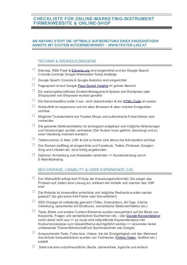 CHECKLISTE FÜR ONLINE-MARKETING-INSTRUMENT FIRMENWEBSITE & ONLINE-SHOP AM ANFANG STEHT DIE OPTIMALE AUFBEREITUNG EINES EIN...