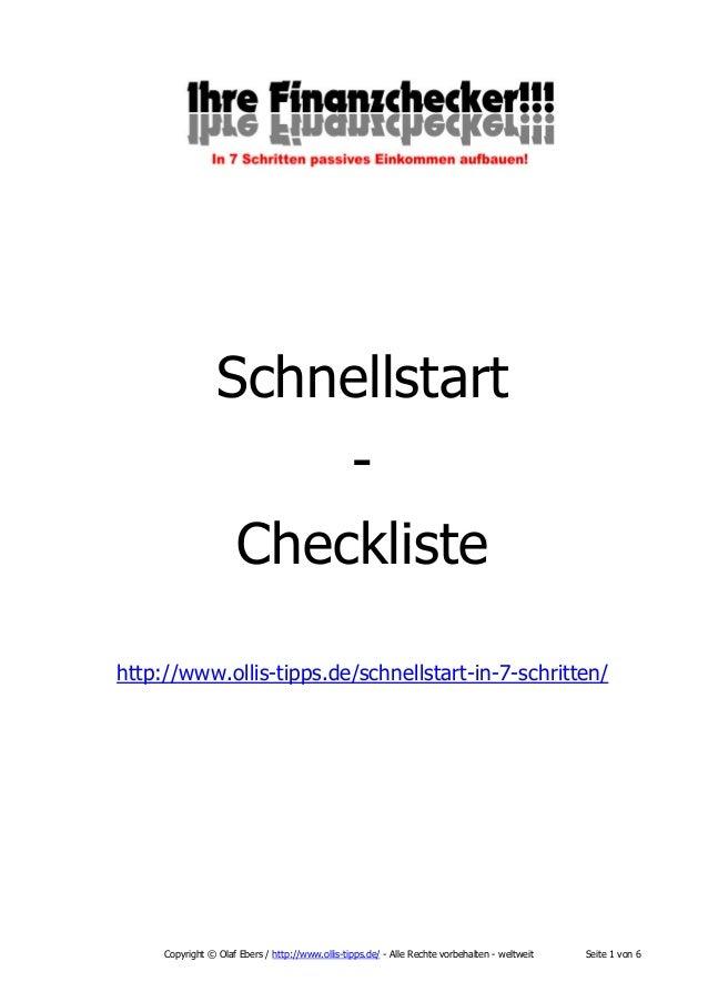 Schnellstart Checkliste http://www.ollis-tipps.de/schnellstart-in-7-schritten/  Copyright © Olaf Ebers / http://www.ollis-...