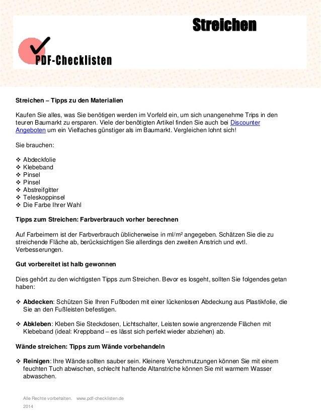 Alle Rechte vorbehalten. www.pdf-checklisten.de 2014 Streichen Streichen – Tipps zu den Materialien Kaufen Sie alles, was ...