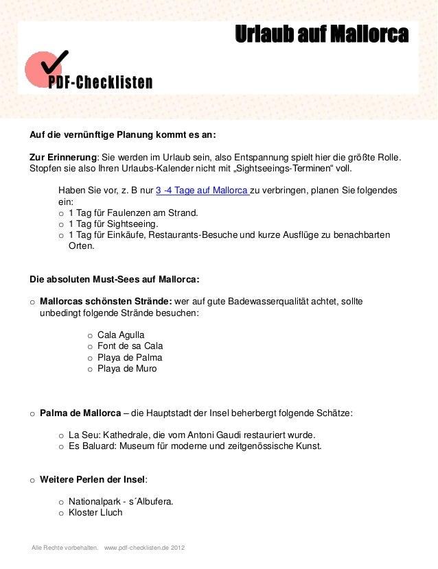 Alle Rechte vorbehalten. www.pdf-checklisten.de 2012 Urlaub auf Mallorca Auf die vernünftige Planung kommt es an: Zur Erin...