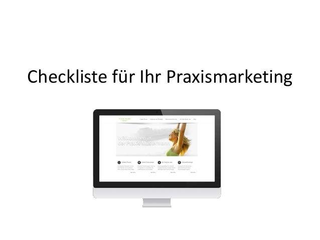 Checkliste für Ihr Praxismarketing
