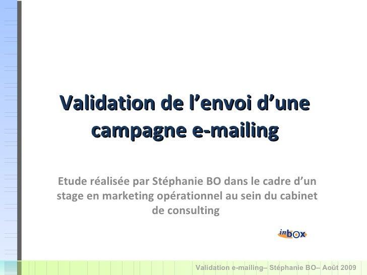 Validation de l'envoi d'une campagne e-mailing