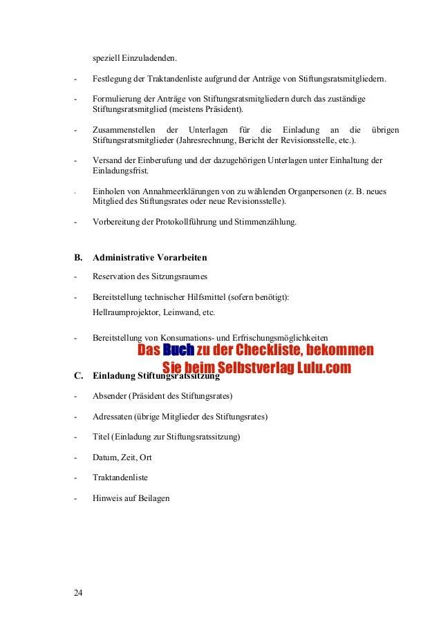checkliste 3: stiftungsstatut und beilagen, checkliste 4: vorbereitun…, Einladung
