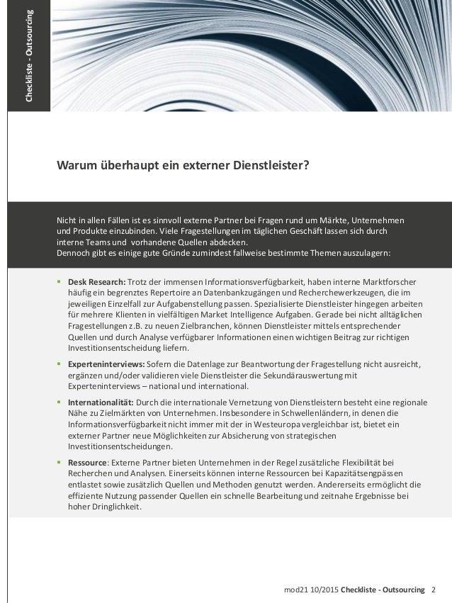 2mod21 10/2015 Checkliste - Outsourcing Checkliste-Outsourcing Nicht in allen Fällen ist es sinnvoll externe Partner bei F...