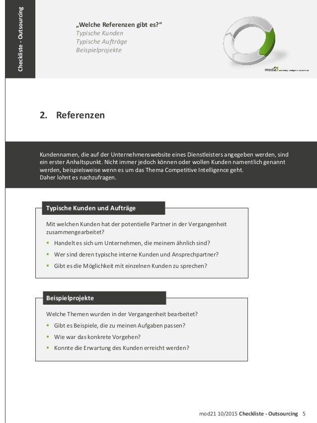 """5mod21 10/2015 Checkliste - Outsourcing Checkliste-Outsourcing 2. Referenzen """"Welche Referenzen gibt es?"""" Typische Kunden ..."""