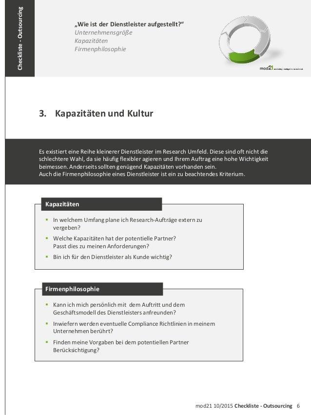 """6mod21 10/2015 Checkliste - Outsourcing Checkliste-Outsourcing 3. Kapazitäten und Kultur """"Wie ist der Dienstleister aufges..."""