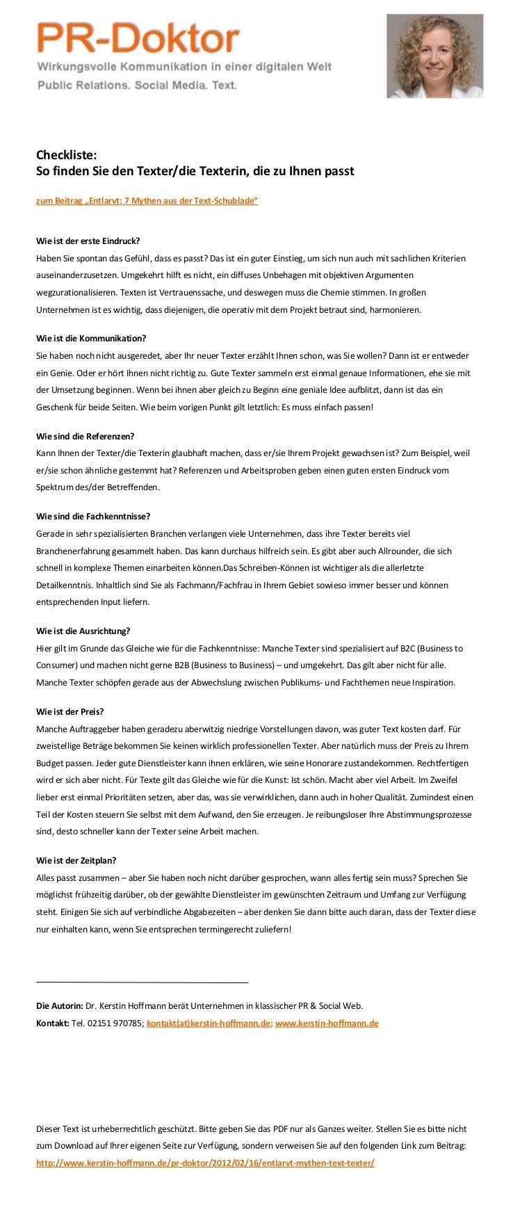 """Checkliste:So finden Sie den Texter/die Texterin, die zu Ihnen passtzum Beitrag """"Entlarvt: 7 Mythen aus der Text-Schublade..."""