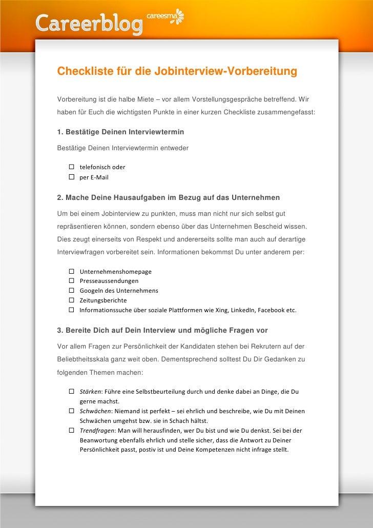 Checkliste für die Jobinterview-Vorbereitung  Vorbereitung ist die halbe Miete – vor allem Vorstellungsgespräche betreffen...