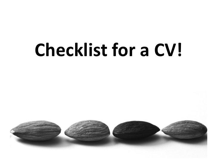 Checklist for a CV!