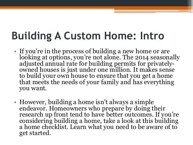 checklist for building a house