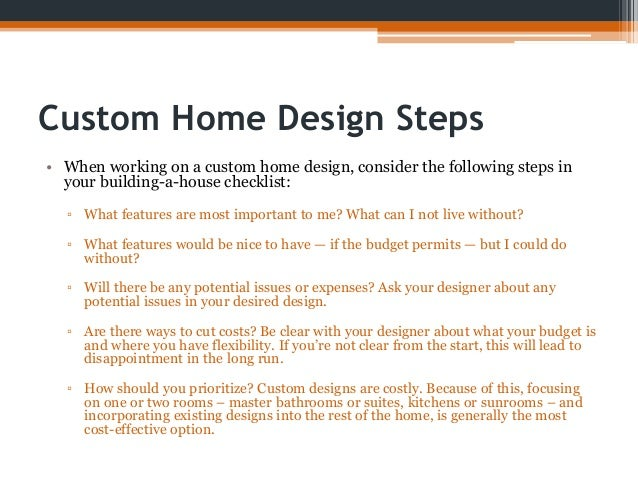 Checklist for building a house for Home design checklist