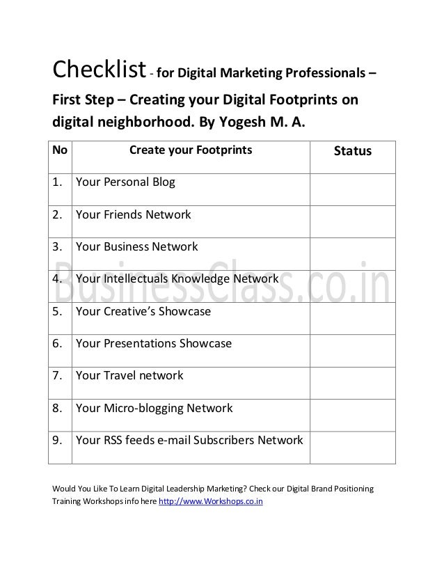 Checklist For Digital Marketing Professionals  First Step  Creating