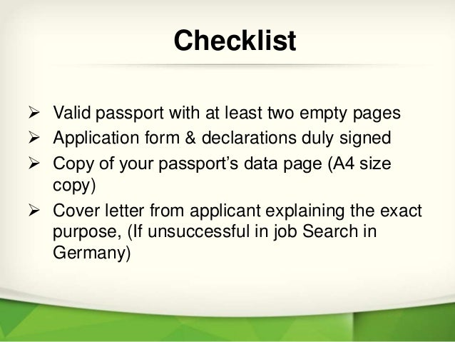 Checklist For Germany Job Seeker Visa