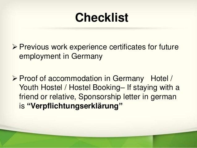 Checklist for germany job seeker visa employment history checklist 5 spiritdancerdesigns Images