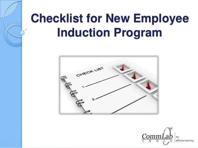 Checklist for new employee induction program for Induction procedure template