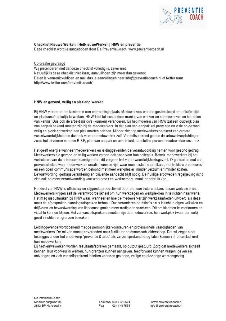 Checklist Nieuwe Werken | HetNieuweWerken | HNW en preventieDeze checklist word je aangeboden door De PreventieCoach www.p...