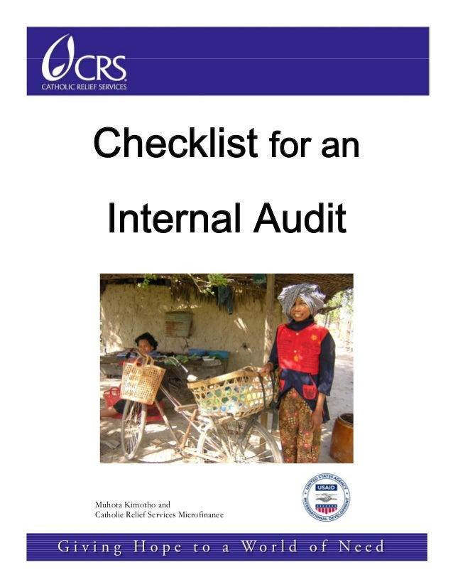 Checklist for anInternal Audit  Muhota Kimotho and Catholic Relief Services Microfinance