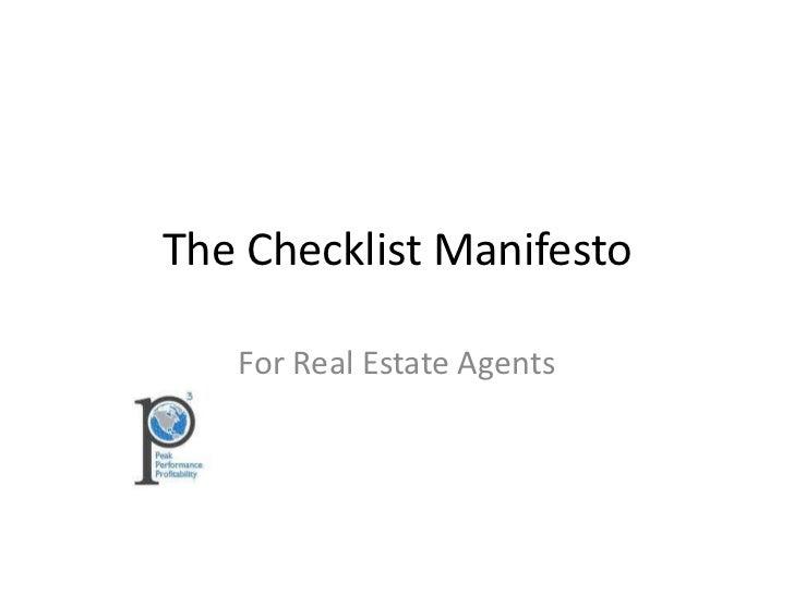 The Checklist Manifesto   For Real Estate Agents