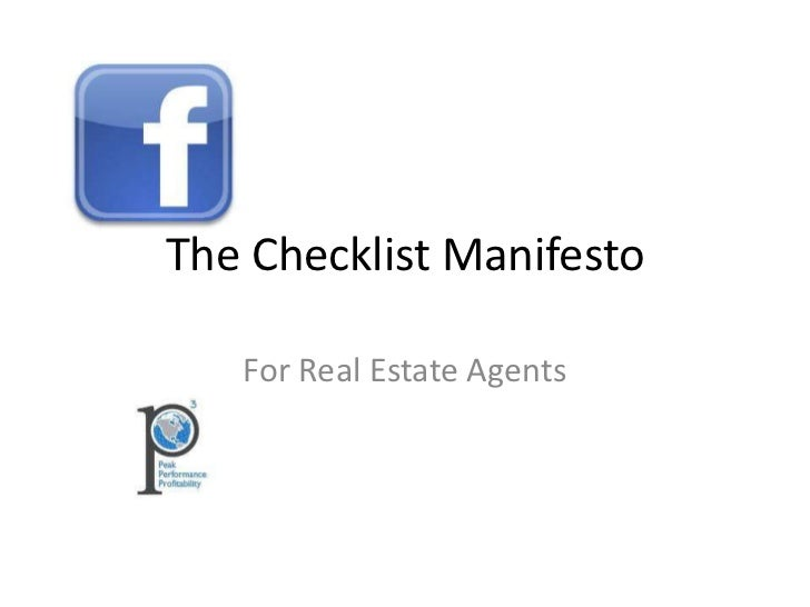 The Checklist Manifesto For Real Estate