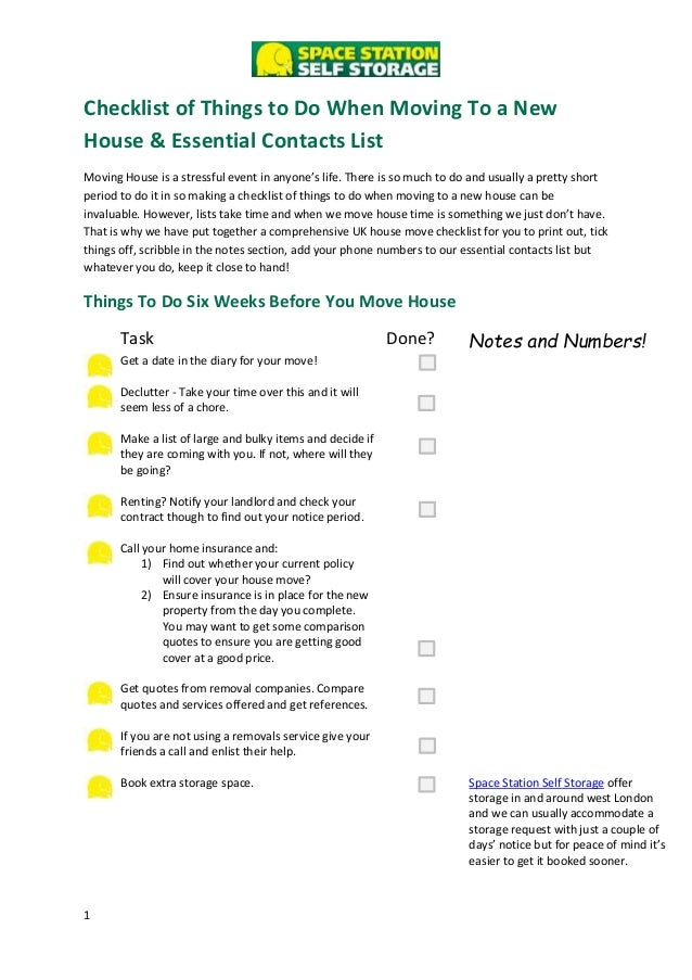 Checklist of things to do when moving to a new house for New home to do list