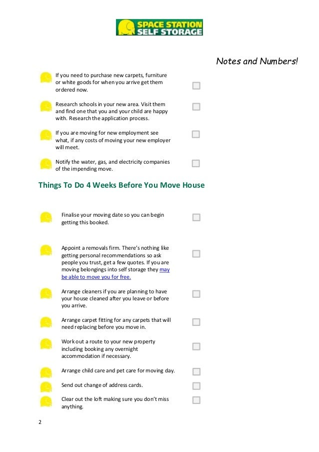 Checklist of things to do when moving to a new house for Home need things