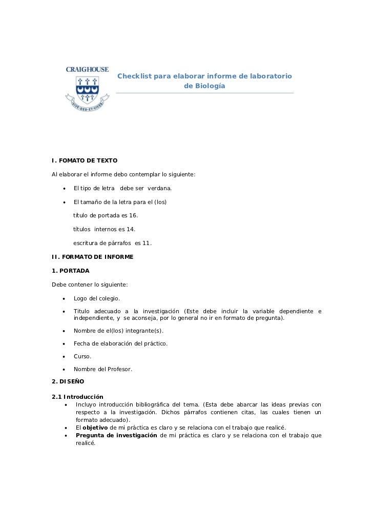 Checklist para elaborar informe de laboratorio                                            de BiologíaI. FOMATO DE TEXTOAl ...