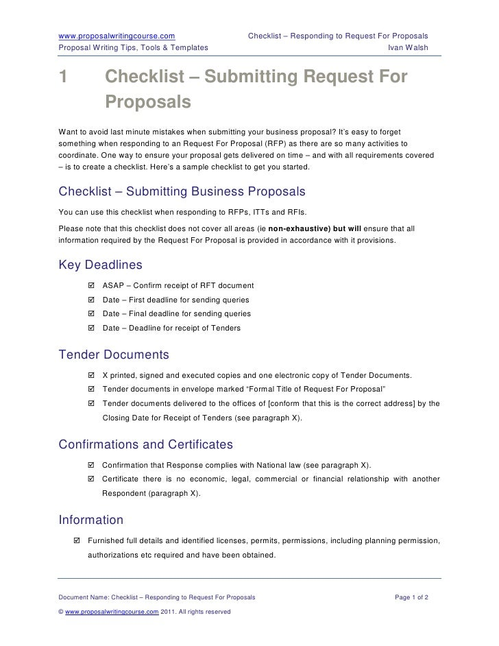 www.proposalwritingcourse.com                               Checklist – Responding to Request For ProposalsProposal Writin...
