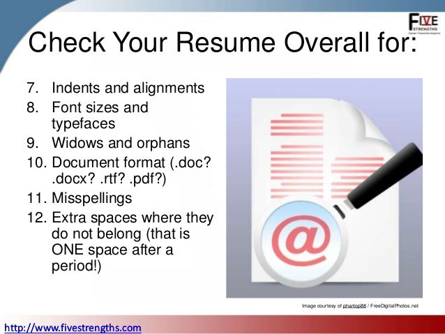 checklist to proofread your resume