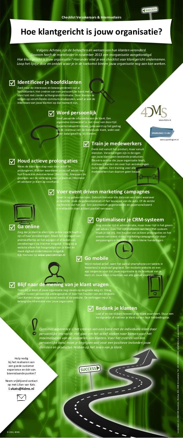 Checklist Verzekeraars & Intermediairs  Hoe klantgericht is jouw organisatie? Volgens Achmea zijn de behoeften en wensen v...